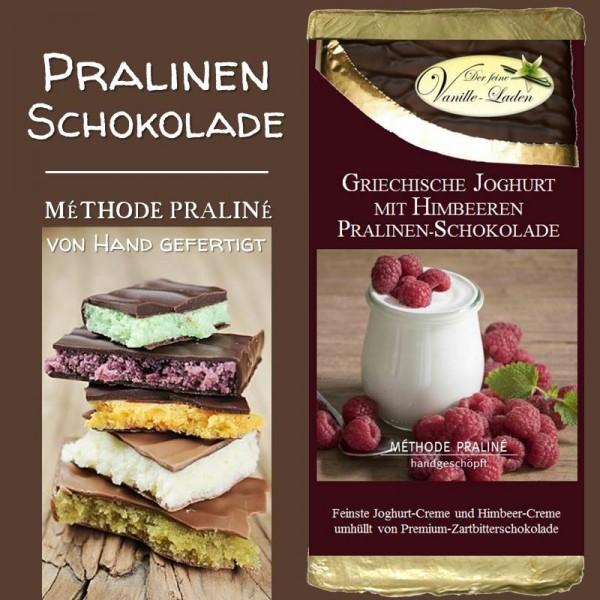 Griechische Joghurt mit Himbeeren Pralinen-Schokolade