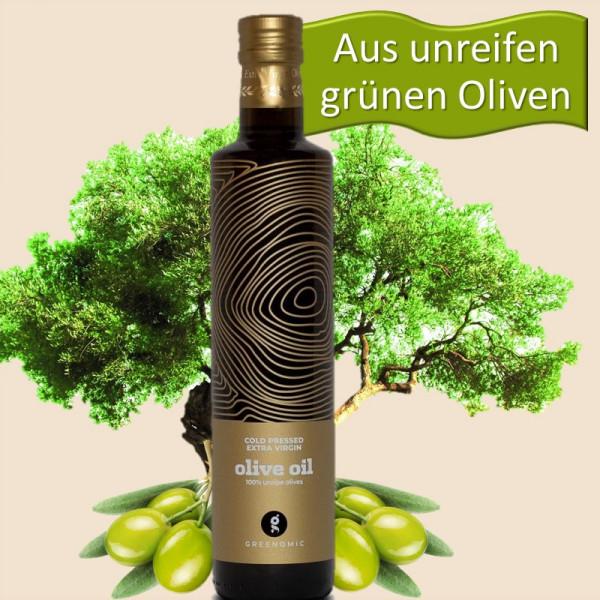 Extra natives Olivenöl aus unreifen grünen Oliven