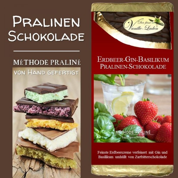 Erdbeer-Gin-Basilikum Pralinen-Schokolade