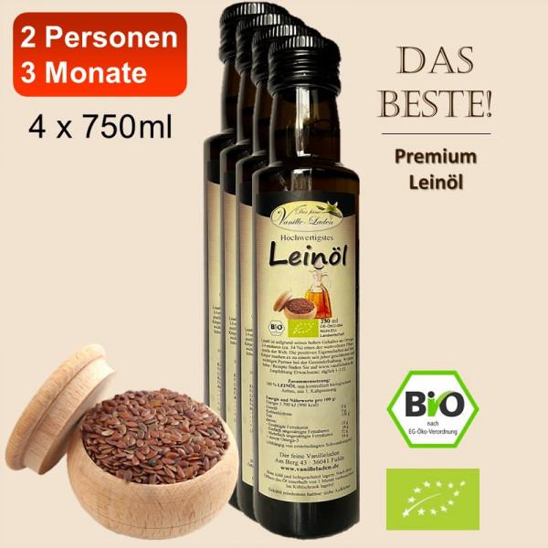 3-Monats-Empfehlung für 2 Personen / BIO-Leinöl (4 x 750 ml)