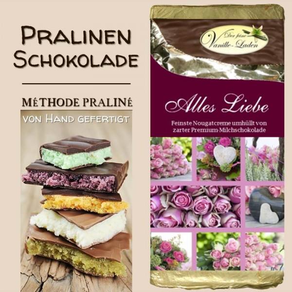 """Alles Liebe"" Pralinen-Schokolade (NOUGAT)"
